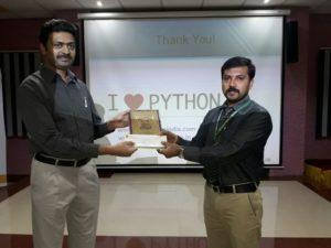 Nagesh Rao felicitated by Dr. B. S. Pradeep, HoD (CSE), ACSCE