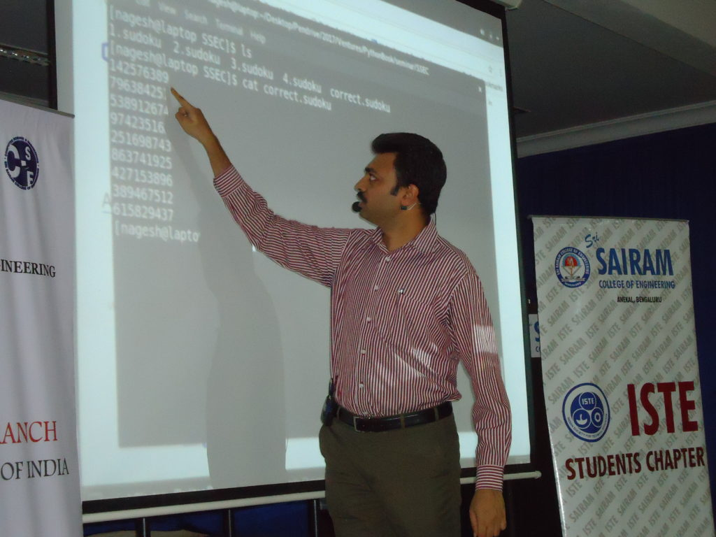 Nagesh Rao during a seminar on Python in Sri Sairam College of Engineering